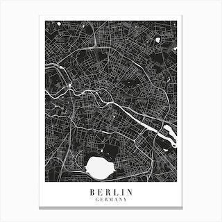 Berlin Germany Minimal Black Mono Street Map Canvas Print