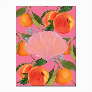 Peaches, Stars And Shell In Pink Canvas Print