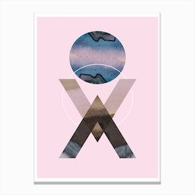 Blue moon geometric pink background abstract Canvas Print
