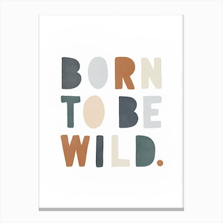 Born To Be Wild  Navy & Brown Canvas Print