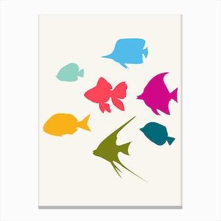 Happy Fish Family Canvas Print