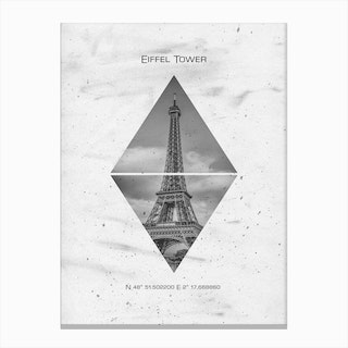 Coordinates Paris Eiffel Tower Canvas Print