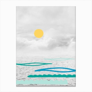 Yellow Sun In The Clouds Canvas Print