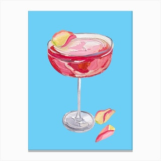 Sparkling Rose Gin Cocktail Canvas Print