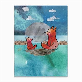 Watercolour Orange Foxes At Night Canvas Print