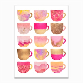 Pretty Pink Coffee Cups Canvas Print