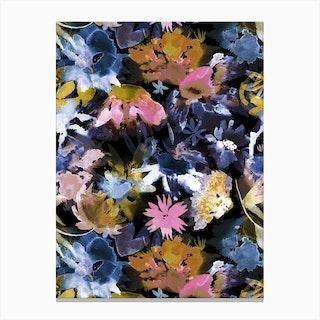 Watercolor Spring Floral Memories Black Canvas Print