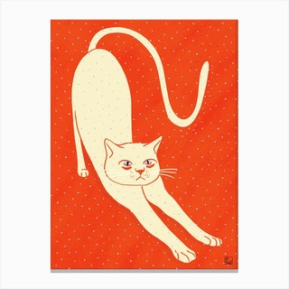 White Cat On Red Background Canvas Print