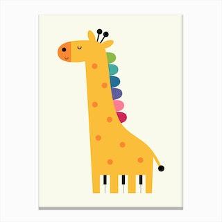 Giraffe Piano Canvas Print
