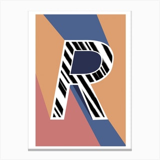 R Geometric Font Canvas Print