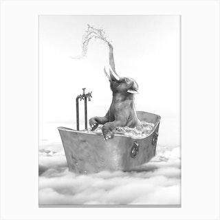 Elephant Bath Canvas Print
