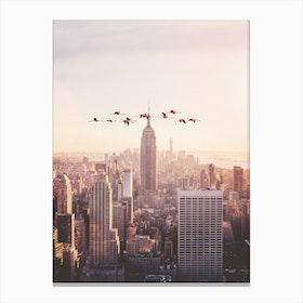 Flamingos in New York Canvas Print