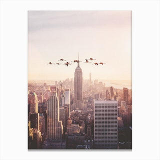 Flamingos in New York Canvas Print