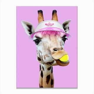 Tennis Giraffee Canvas Print