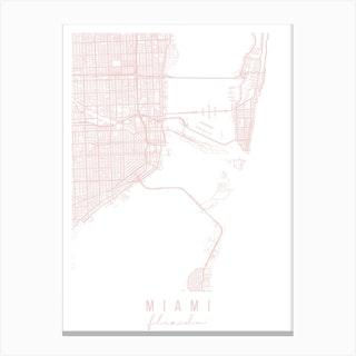 Miami Florida Light Pink Minimal Street Map Canvas Print