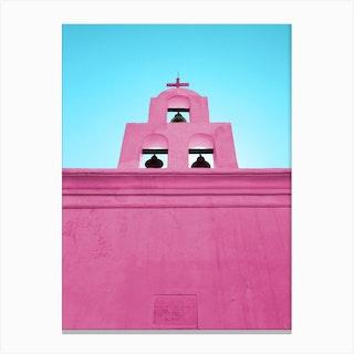 Pink Mission Church In Tucson Arizona Canvas Print