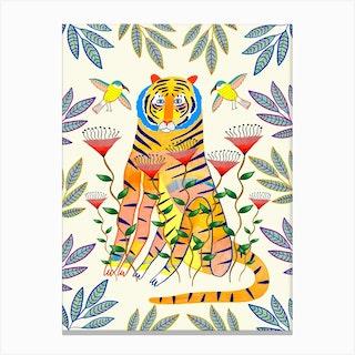 Tiger An Birds Canvas Print