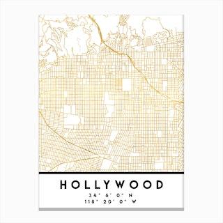 Hollywood California City Street Map Canvas Print