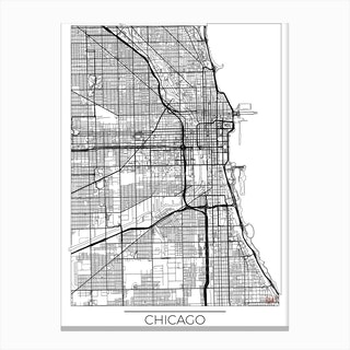 Chicago Map Minimal Canvas Print