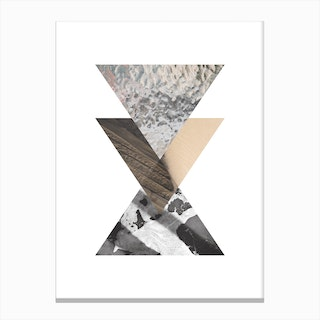 Three Triangle Sand Glass & Black Marble Circle Abstract Canvas Print