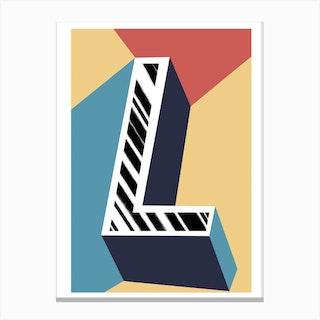 L Geometric Font Canvas Print