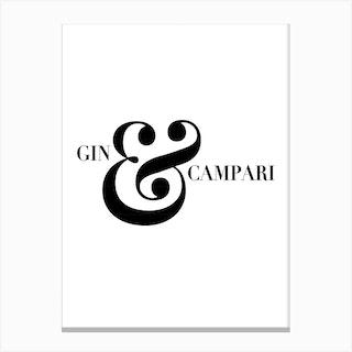 Gin And Campari Negroni Cocktail Receipe Canvas Print