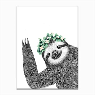 Sloth With Eucalyptus Canvas Print