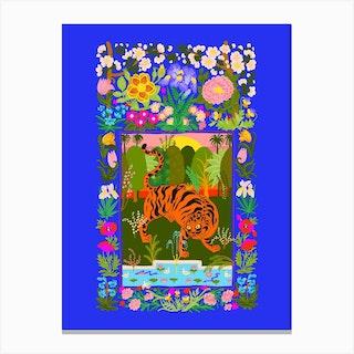 Tiger Garden Blue Canvas Print