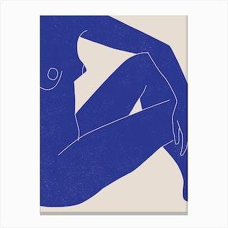 Nude Study Blue 1 Canvas Print