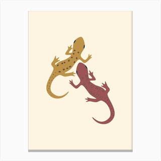 Spotted Newt Mustard Canvas Print