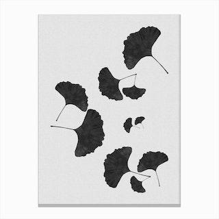 Ginkgo Leaf Black & White II Canvas Print
