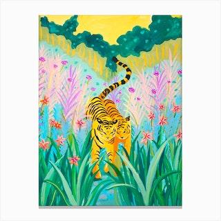 Tigers In Garden Canvas Print