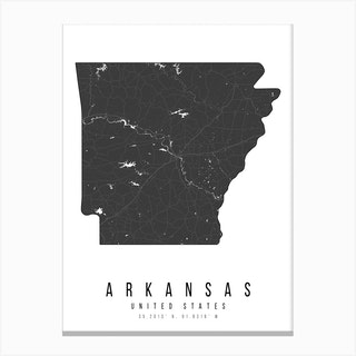 Arkansas Mono Black And White Modern Minimal Street Map Canvas Print