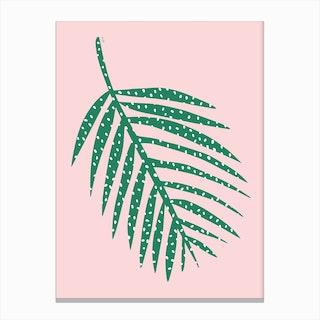 Polka Dot Leaf in Pink Canvas Print