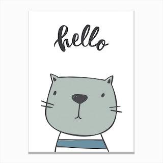 Hello Cat Canvas Print
