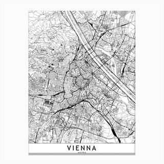 Vienna White Map Canvas Print