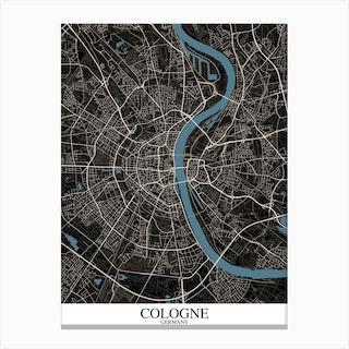 Cologne Black Blue Canvas Print