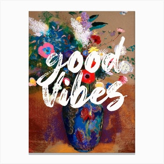 Good Vibes Floral Typography Canvas Print