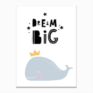 Scandi Dream Big Whale Canvas Print