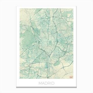 Madrid Map Vintage in Blue Canvas Print