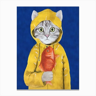 Cat With Fish Canvas Print