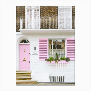 Pastel Pink Door London Canvas Print