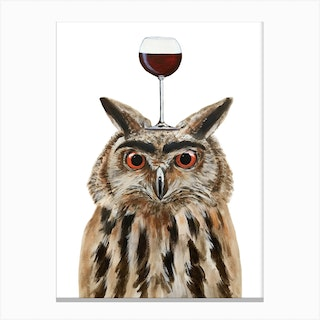 Owl With Wineglass Canvas Print