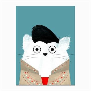 Cat Elvis Canvas Print