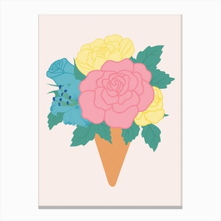 Pastel Ice Crem With Roses Canvas Print