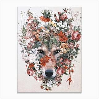 Flower Wolf Canvas Print