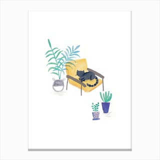 Painted Black Cat In Scandi Chair Canvas Print