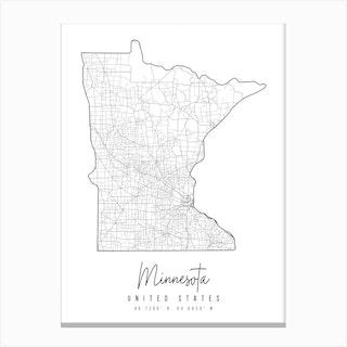 Minnesota Minimal Street Map Canvas Print