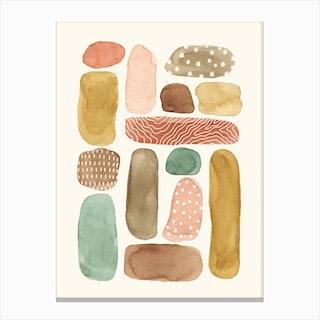 Watercolor Beach Pebbles Canvas Print