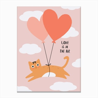Love is in the Air Cat Canvas Print
